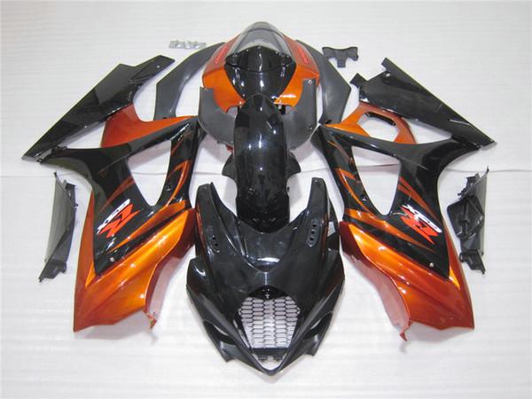 Carenados de plástico moldeado por inyección para carenado SUZUKI GSXR 1000 2005 2006 naranja quemado negro GSXR1000 05 06 UT25