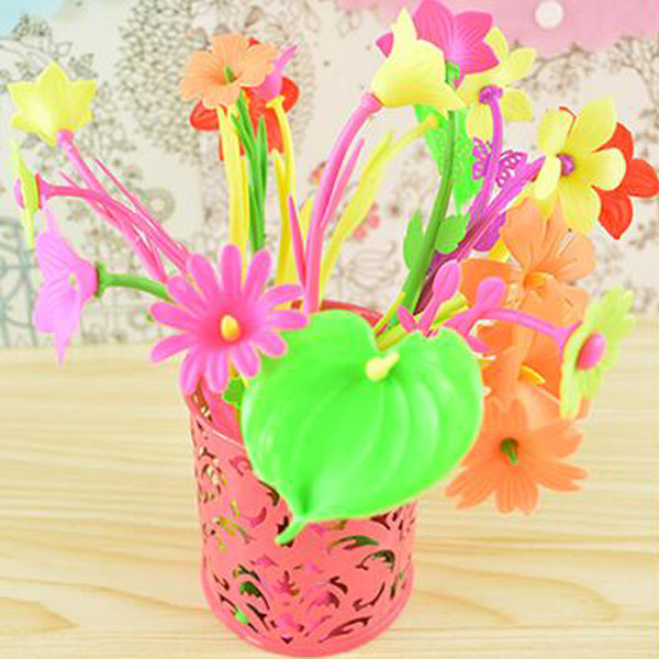 6 Pieces Mixed Flower Plant Ballpoint Pens Fashion Hot Creative Stationery Bloom Sweet Lucky Flowers Pen Design Pen Cute Prize Gifts