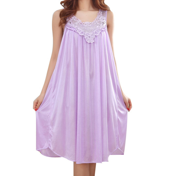 Wholesale- Wholesale 2017 Summer Imitation Silk Sexy Spaghetti Strap Nightgown Lace Appliques Hem Home Wear Solid Nightgowns for Women