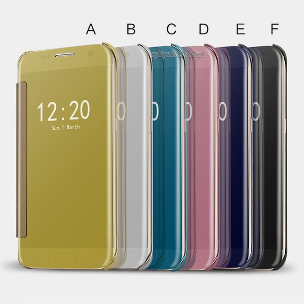 Plating Mirror Leather Case Clear Window View Chrome Flip Electroplate Phone Case Cover for smartphone android mobile phone