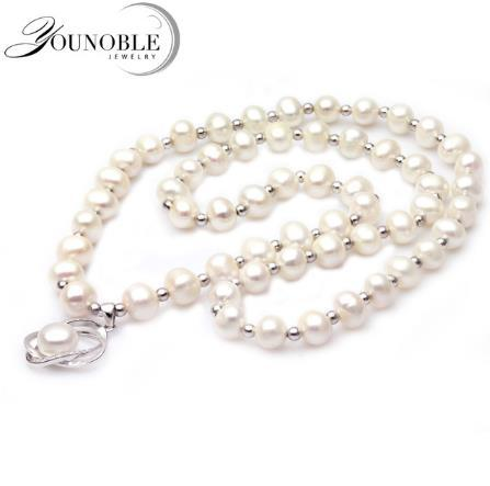 YouNoble High Quality Long Pearl Pendant Necklace Natural Freshwater Pearl 8-9mm 925 Sterling Silver Jewelry Women Statement Necklace