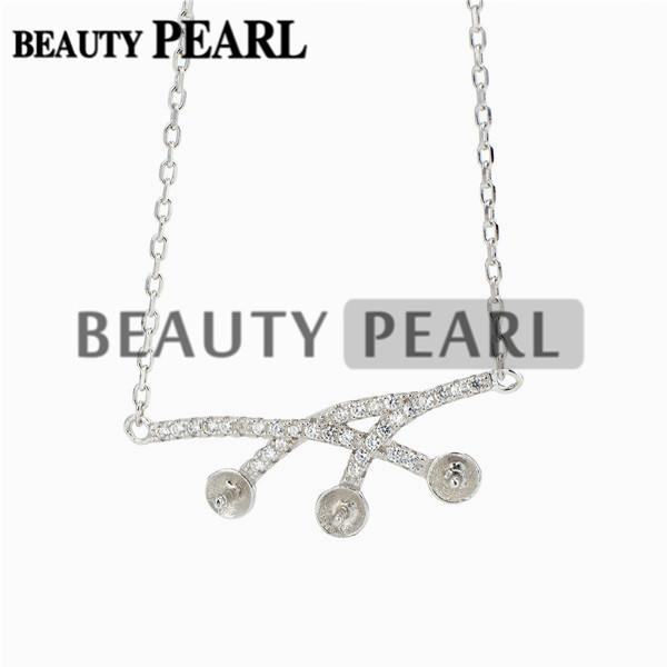 Necklace Blank for Pearls Zircon Mounting 925 Sterling Silver Chain Base with 3 Blanks 5 Pieces