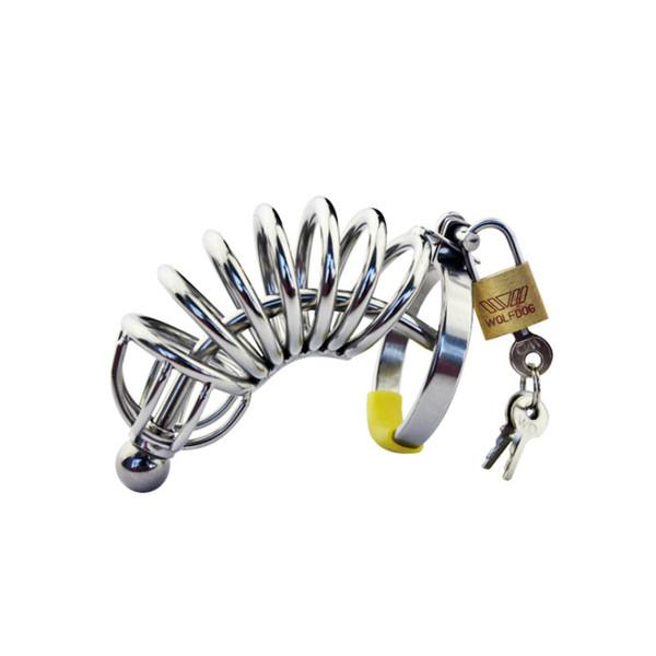 Nuevo Largo Masculino Chastity Cage Metal Cock Ring Cockring Novedad Uretral Catéter Uretral Plug Chastity Belt Productos Sexuales para Hombres G109