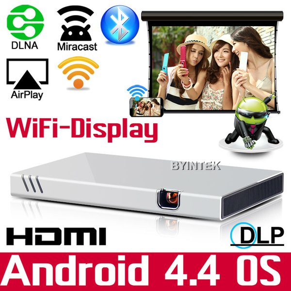Wholesale-Wifi HDMI Pico Miracast Airplay Home Theater Portable HD 1080P Video LED Mini DLP Projector for Iphone Ipad Android Phone tablet