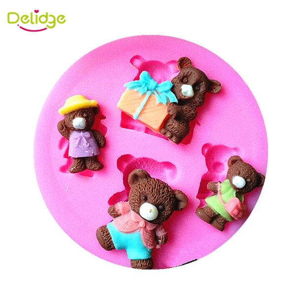 Delidge 10 pcs 4 Bears Cake Mold Silicone Fondant Mold Cute Cubs Cupcake Mold Sugarcraft Paste Baking Mould Bakeware By Handmade