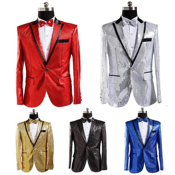 Venta al por mayor envío gratis moda para hombre traje chaqueta abrigo traje de lentejuelas discoteca cantante estudio coreano fotos mostrar chaquetas con corbata de lazo