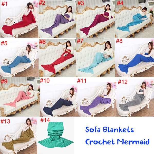 14 Renkler Yetişkin ve Çocuklar Tığ Mermaid Tail Battaniye Uyku Tulumları Kostüm Koza Yatak Örgü Kanepe Battaniye Oturma Odası DHL Ücretsiz OTH317