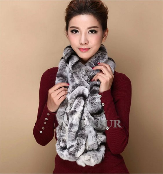 Wholesale-Fashion Womens Real Knitted Rex Rabbit Fur Scarves Natural Fur Neckerchief Winter Long Wraps LX00520