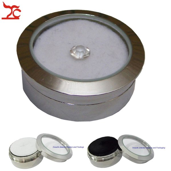Free Shipping Wholesale 5pcs Jewelry Display Box Mental Case 3.2(D)*1.15(H)cm Stainless Steel with Inner Sponge Gem Diamond Storage Box