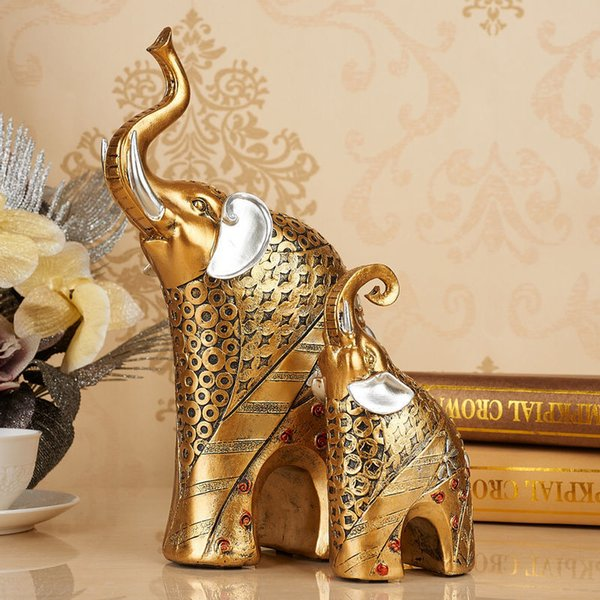 Resin Crafts European  Adornment Style Home Elephant Living Room Decorations  Wine Cabinet Furnishings Wedding Gifts