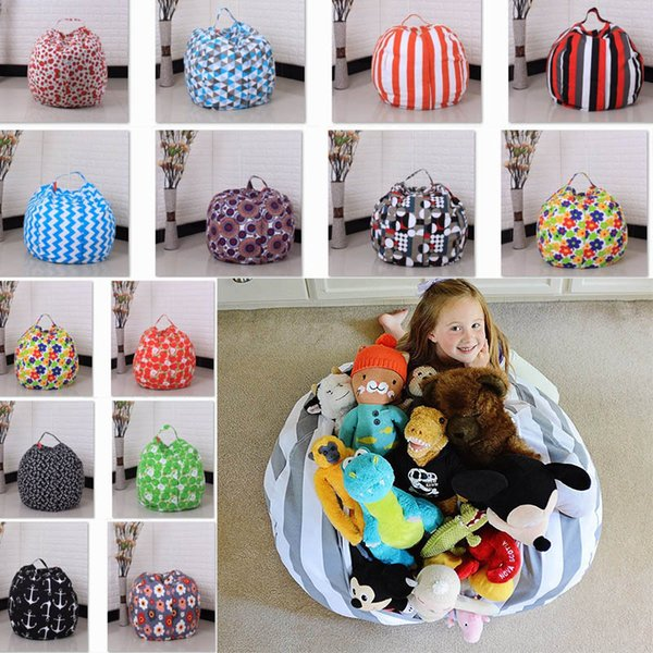 45cm Kids Storage Bean Bags Plush Toys Beanbag Chair Bedroom Stuffed Room Mats Portable Clothes Storage Bag 32 Color XL-425