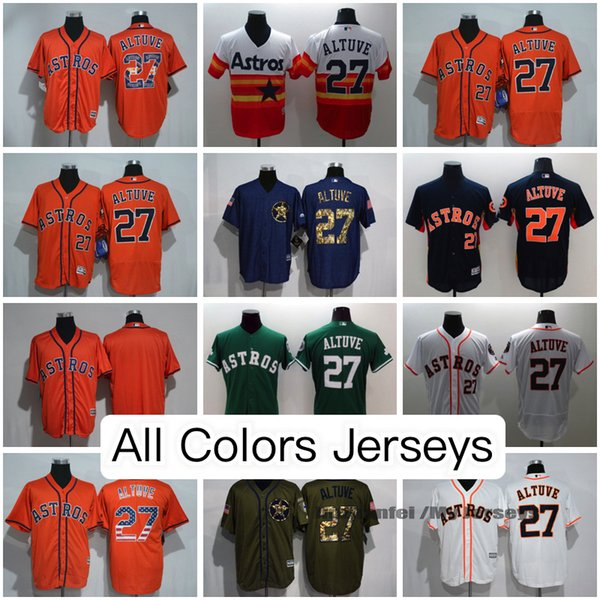 5aac2ef62 ... Jose Altuve Houston Astros Jersey All Gray White Orange Black Green  Olive MN Throwback Cooperstown Majestic ...