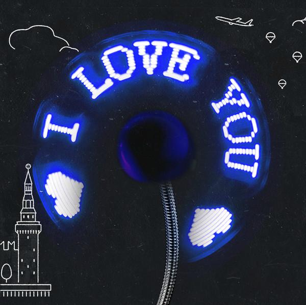 DIY Гибкая USB LED Light Вентилятор Программирование Любого Редактирования Текста Reprogramme Характер Рекламы Приветствия Сообщение Мини LED USB Вентилятор для Ноутбука