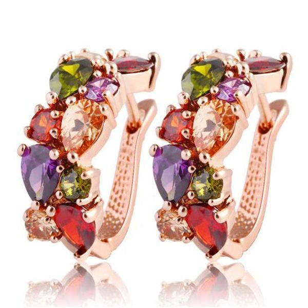 Orecchini in cristallo colorato Diamante placcato oro rosa Orecchini a cerchio in zircone colorato Gioielli in stile europeo Regalo di Natale di lusso per donne