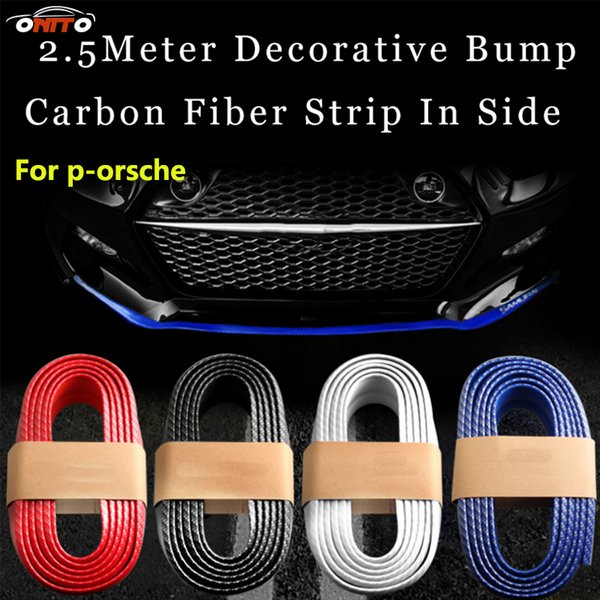 Practicality 250cm all car styling outside carbon fiber Rubber Car Front bumper Strips Lip Kit protection anti - collision decoration strips