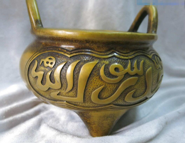 China fine pure brass incense burner carved lucky buddhism flame censer Statue