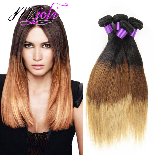 9A Brazilian Virgin Hair Weave Straight Hot Selling Three Tone Human Unprocessed Hair Extension Weft Ombre Color Four Hair Bundles t1b-4-27