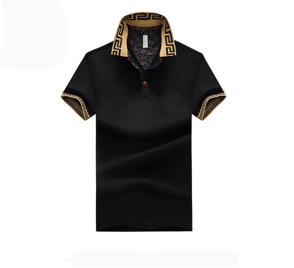 top popular Mens Polo Shirt Brand Plus Size M-5XL Cotton Polo Shirt Men Slim Fit Brand Clothing Black Solid Polo Shirt 2019