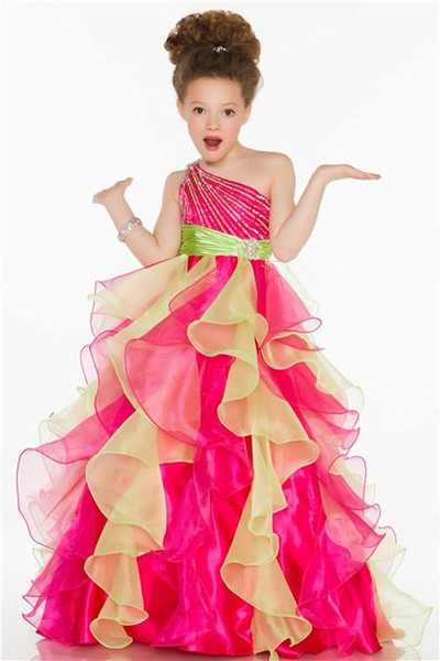 One Shoulder Beaded Ruffled Organza Flower Girls Pageant Dresses Sweety Pink and Yellow Floor Length Princess Gowns