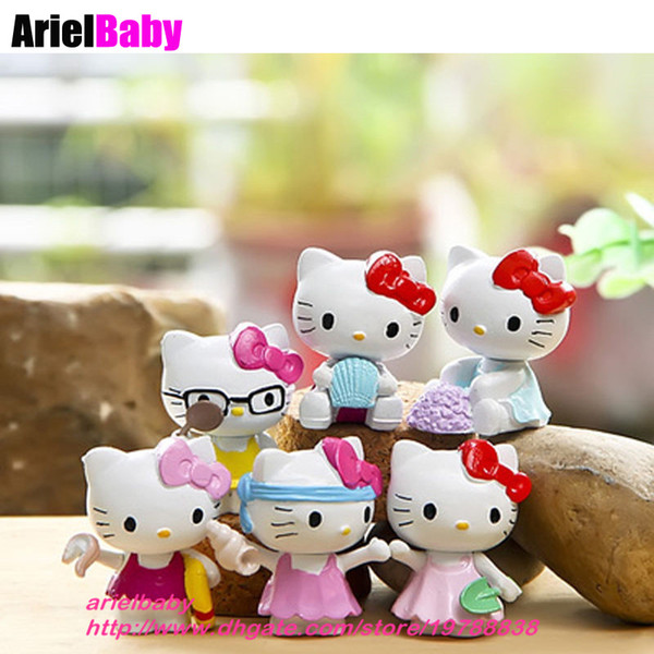 OHMETOY 6PCS Hello Kitty KT Action Figure Toy Mini Model Kids Girl Birthday Gift Cake Toppers Baby Dolls Brinquedos