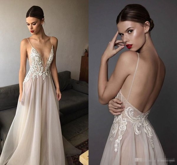 2017 Sexy Ivory Berta Evening Dresses Deep V Neck Spaghetti Straps Embroidered Chiffon Backless Summer Illusion Long Prom Dresses
