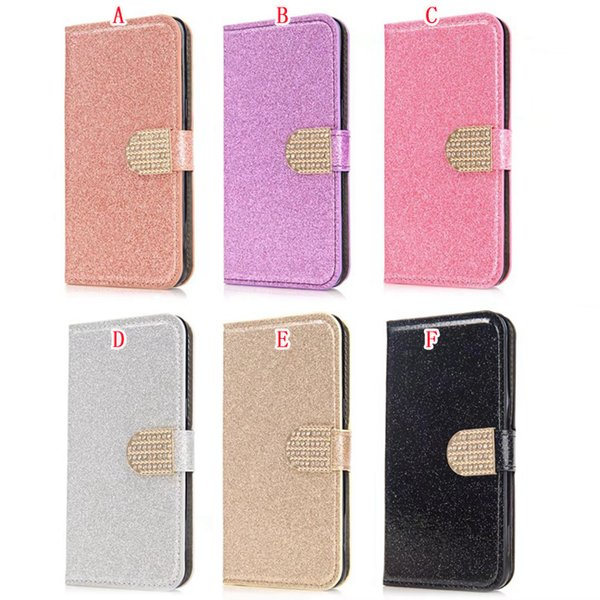 Bling Glitter Wallet Leather Pouch Case For Samsung Galaxy S8 Plus S7 S6 Edge S5 Iphone 7 Plus 6 6S 5 5S SE Sparkle Stand Cards Cover 100pcs