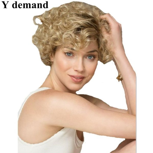 Promotion Afro Kinky Curly Blonde wigs Synthetic Short Black For Black Women Natural Cheap Fashion Party Short Hair Cut Wigs