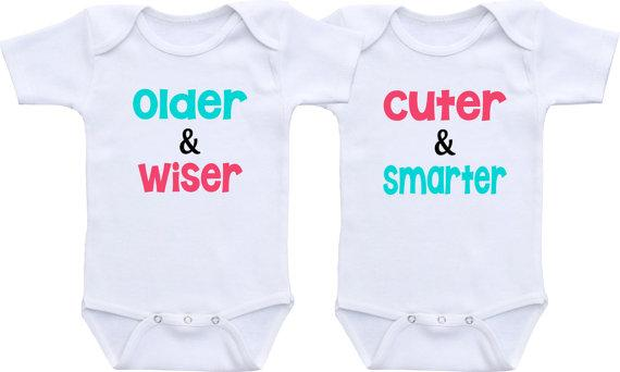 2d32ac949 Baby outfit Older Wiser Cuter Smarter Baby white clothes Twin Matching  Outfits Boy/Girl Twin