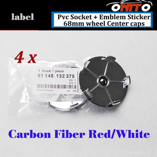4Pcs 68mm Label Car Wheel Hub Emblem Cover Carbon Fiber Red white Good Quality PVC Auto Wheel Center Logo Cap Badge
