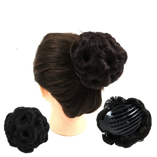 Claw chignon bun 9 hair flowers Hairstyle synthetic hair accessories clip bun Ponytails Holder 5colors Optional