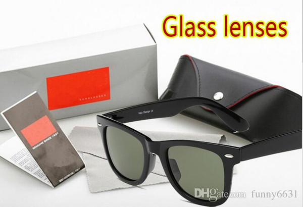 NEW summer men Beach sunglasses GLASS LENSES women cycling Bicycle Glass driving Sun glasses with case cloth box cheap price free shipping