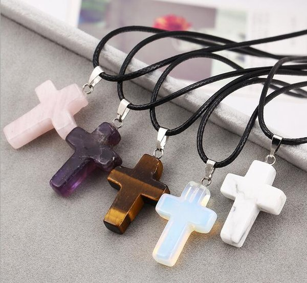 best selling New Lovely Natural Stone Cross Hearts Pendant Necklace Women Choker Necklaces Multicolors Mix Fashion Summer jewelry accessory