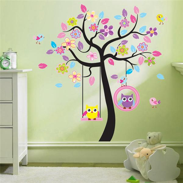 Large Owl and Tree Swing Wall Sticker PVC Animal and Plant Wall Art Decal for Kids Room and Nursery Home Decoration