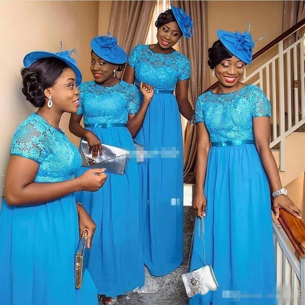 Hot Sale Nigerian Style Bridesmaid Dresses Blue Lace Plus Size Short Sleeves Plus Size Wedding Guest Party Maid Of Honor Gowns 2017 Cheap