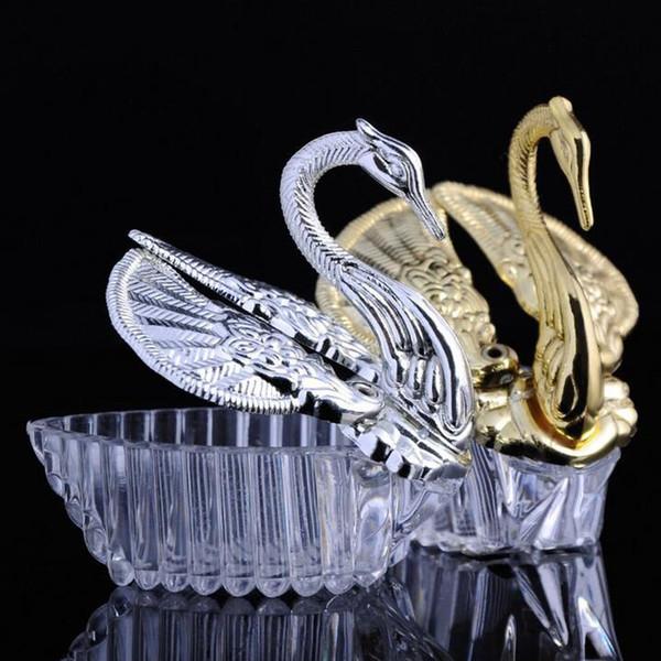 300 unids Estilos Europeos de Acrílico de Plata Cisne Dulce Regalo de Boda Jewely Caja de Dulces Caramelo Cajas de Regalo de Boda Favores Titulares