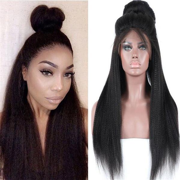Brazilian Human Hair Wig 1B Hot Sale Yaki Straight Lace Front Wig for Black Women Free Shipping
