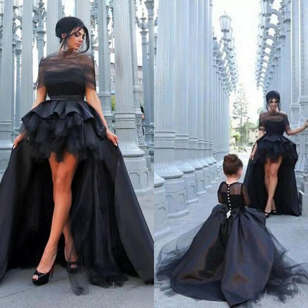 2019 black mother and daughter matching dre e for prom ruffle high low kirt atin and tulle long leeve kid pageant dre e