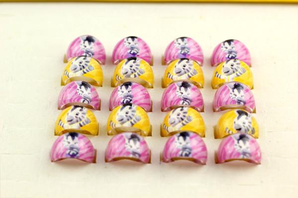 wholesale 500 Pcs/Lot Mix New Party Gift Bag Fit zebra Kid Resin Rings Children Lovely Present #3