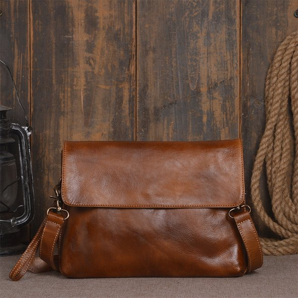Handmade Men Genuine Leather Classic Vegetable Tanned Leather Shoulder Bag