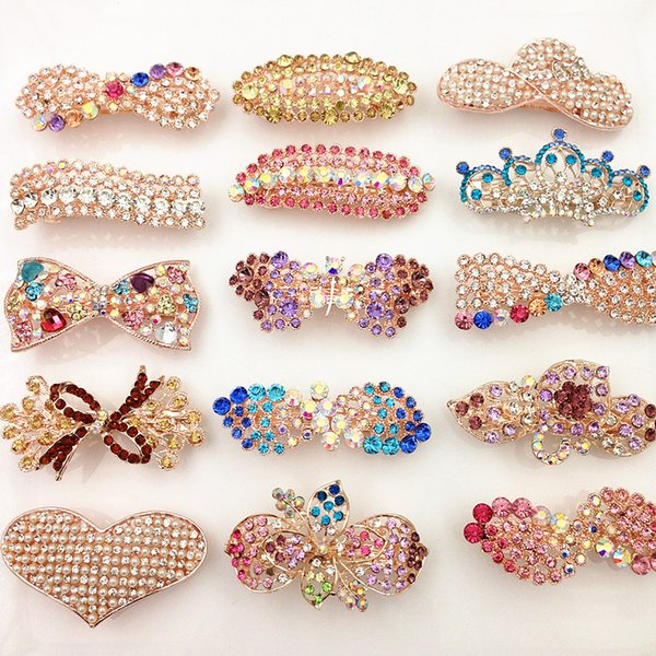 top popular 40% Off hot Barrettes hair clips Spring Clip Bling Bling rhinestone hair Pearl Heart Bow Crown Flower Leaf Wholesale Wedding Hair Jewelry 2019