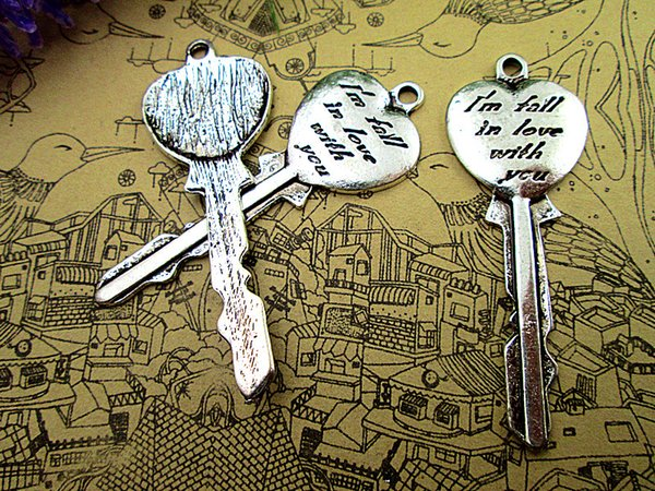 "8pcs--Key charms,Antique silver "" I'm fall in love with you "" Heart Shape Key Charm Pendants 21x57mm"