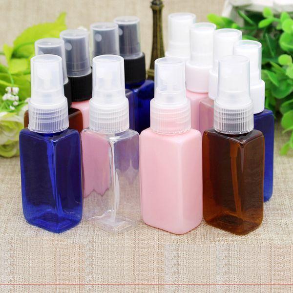 100pc 30ml Shampoo Travel Size Plastic pink blue brown clear Bottles,PET ShampooBlack Square Bottle,Essential Oil Vials Travel spray Bottle