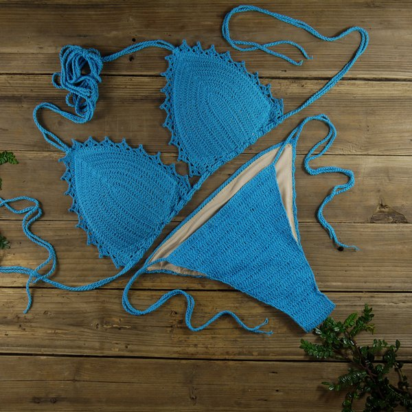 100% Handmade Crocheted Women's Clothing Swimwear Bikini Set Sexy boho chic Lined Padded crop top Bikini Set sky blue