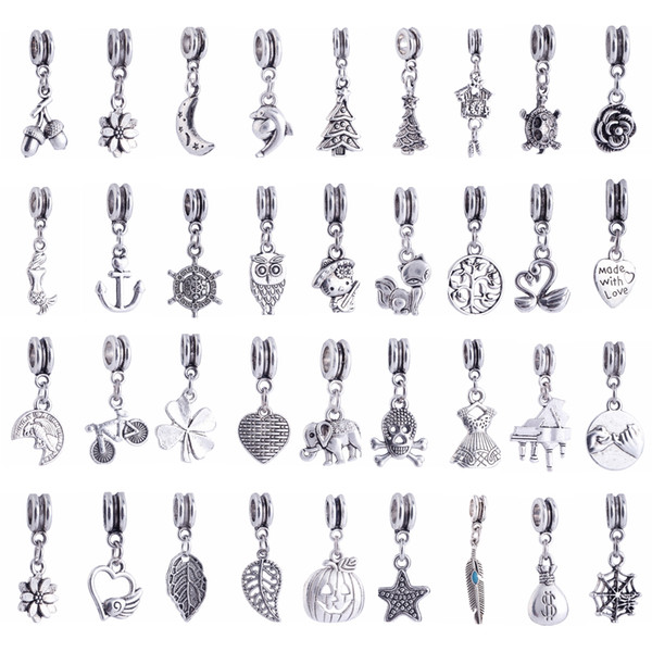 best selling Mix Style Big Hole Loose Beads Charm For Pandora DIY Jewelry Bracelet For European Bracelets Women Jewelry