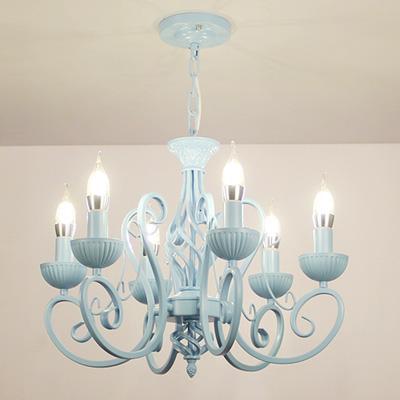 Chandelier multiple moderne blanc / rose / bleu bougie fer Plafonnier pour enfants Led lampe éclairage salle à manger bureau étude