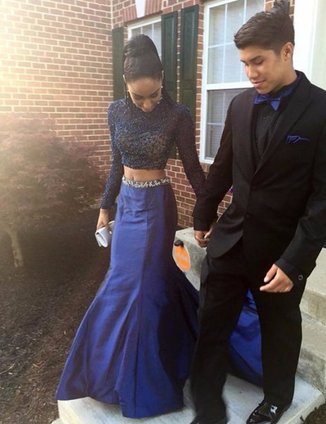 Sexy High Neck Long Sleeves Mermaid Dark Blue Beaded Two Pieces Prom Dresses Long Court Train Women Special Occasion Party Gown