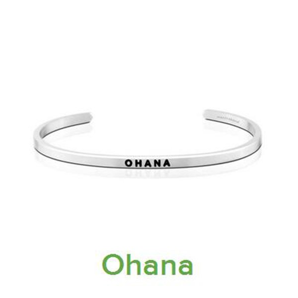 10 PCS Gorgeous Stainless Steel Bar Engraved OHANA Positive Inspirational Quote Cuff Bracelet Bangle For women Men