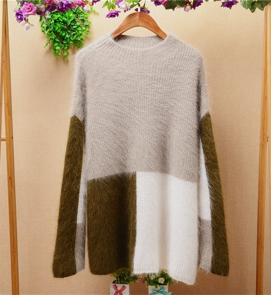 women Korean style autumn and winter loose long angora rabbit hair long-sleeeves pullover sweater coat cashmere sweater TC-049