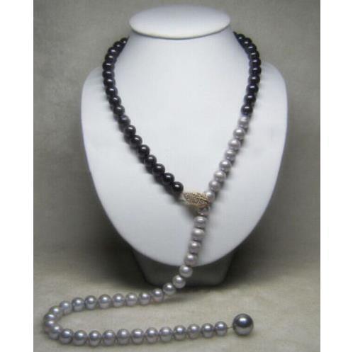 35 inch Adjustable 9-10 MM real south sea Multicolor black gray pearl necklace