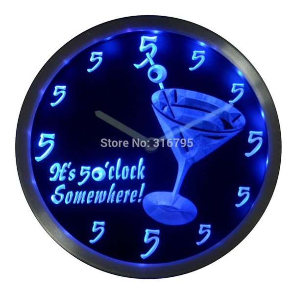 Wholesale- nc0459 It's 5 O'clock pm Somewhere Kokteyller Bar Bira hediye Neon LED Duvar Saati